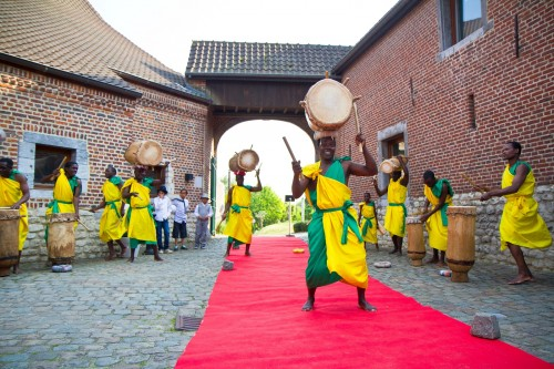 drummers in yellow and green at african wedding