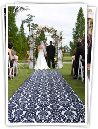 aisle runner with blue pattern