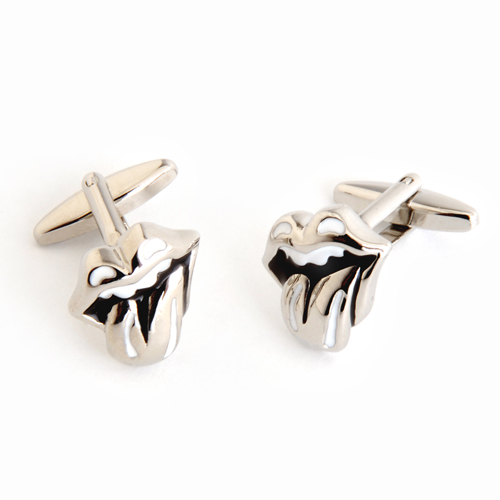 cufflinks with rolling stones lips