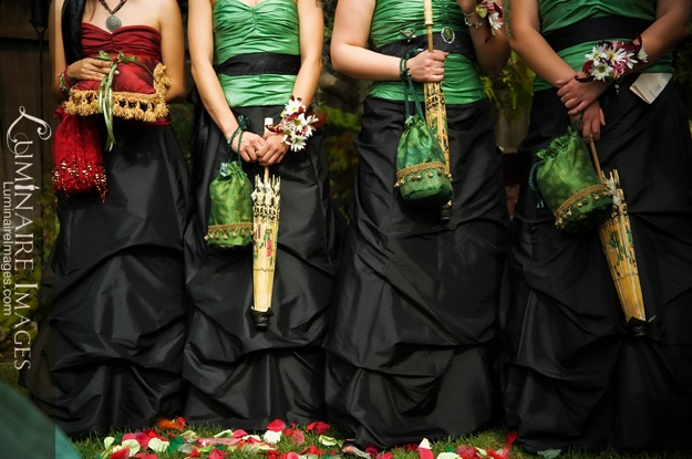 red, black, green bridesmaids outfits
