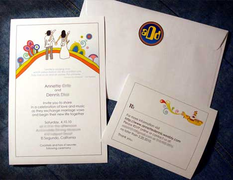 wedding invitation with a Beatles theme