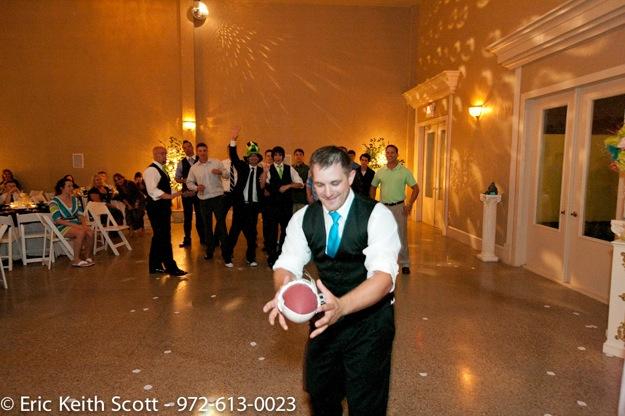 groom throwing garter on football