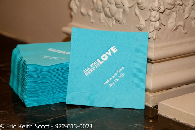 turquoise Beatle's themed wedding napkins