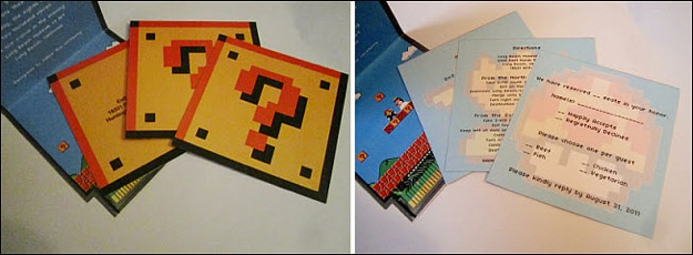mario brothers wedding invitation