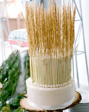cake decorated with wheat stalks