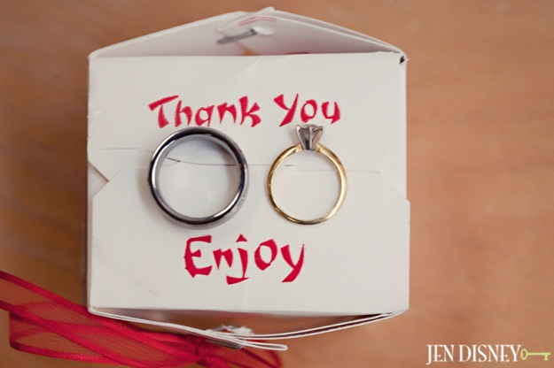 wedding rings on favor boxes