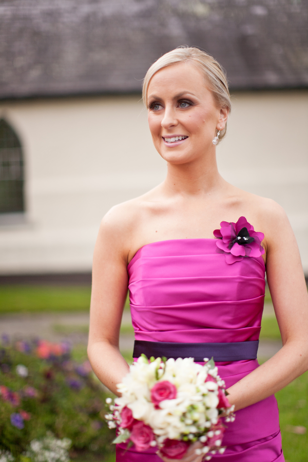 strapless bridesmaid dress with flower