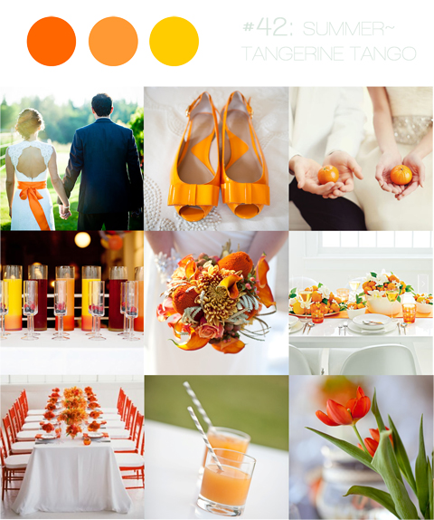 wedding inspiration board tangerine orange