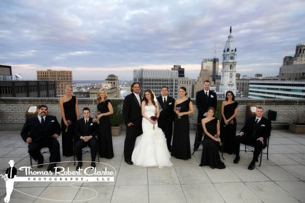 bridal party with city skyline