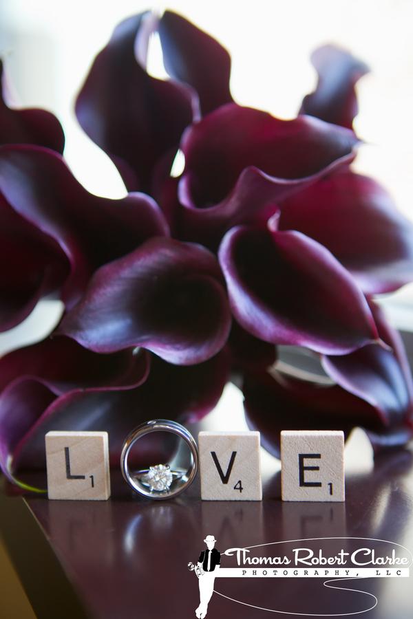 purple calla lillies and scrabble tiles