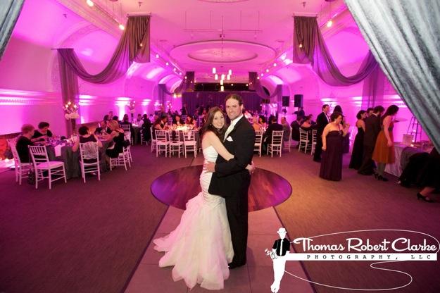 bride and groom in reception room