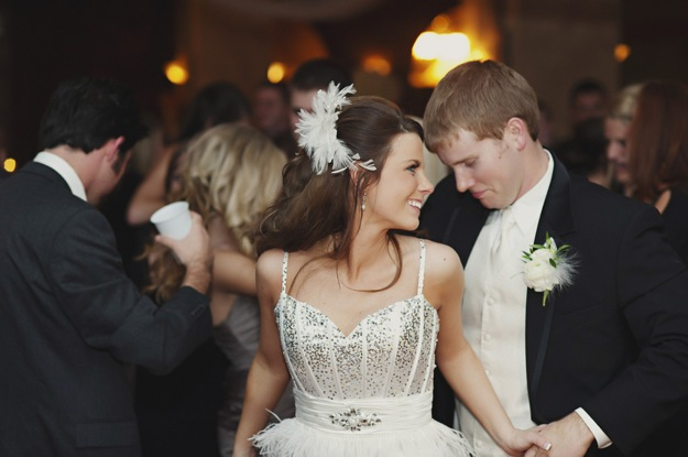 bride in reception dress and groom