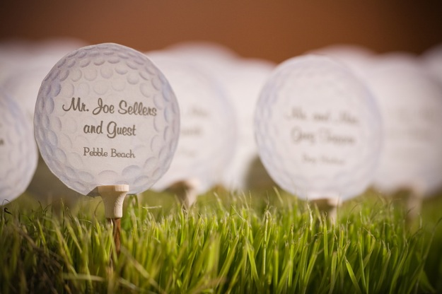 escort cards on golf balls