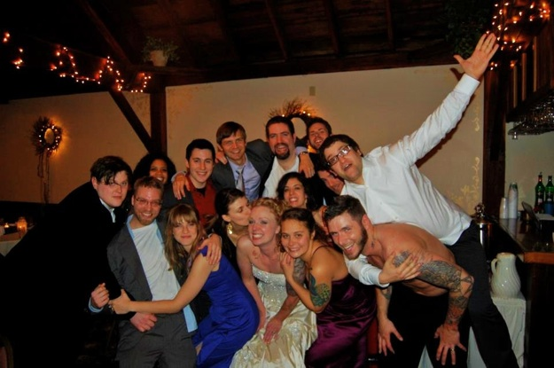 wedding party in crazy pose