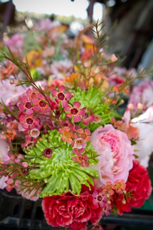 pink and green wildflower bouquet