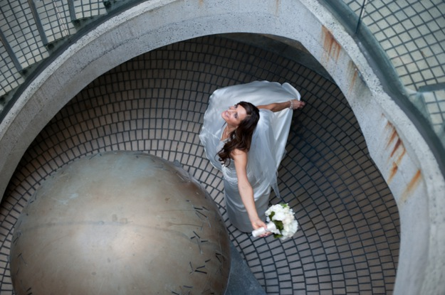 bride twirls happily