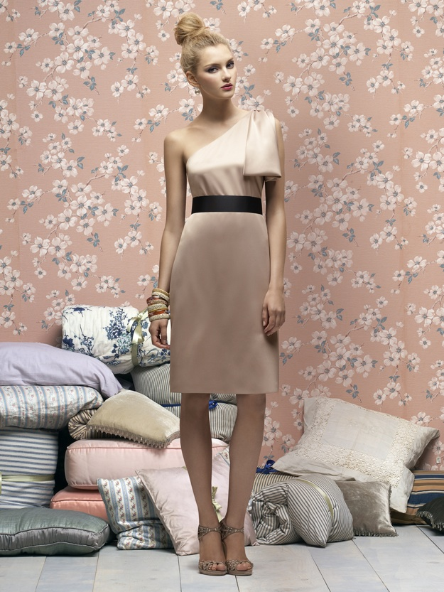 champagne colored bridesmaid dress, short