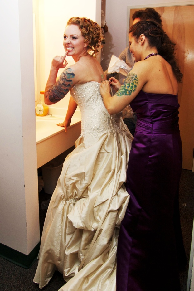 tattoed bride getting ready