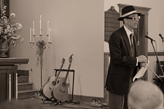 Wedding officiant with guitars