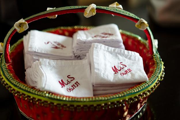 red embroidered wedding handkerchiefs