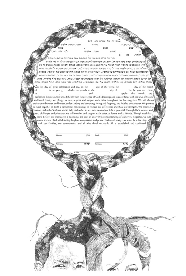 ketubah with hair as circle