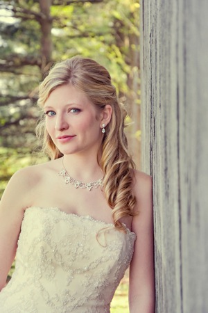 bride in strapless dress with necklace