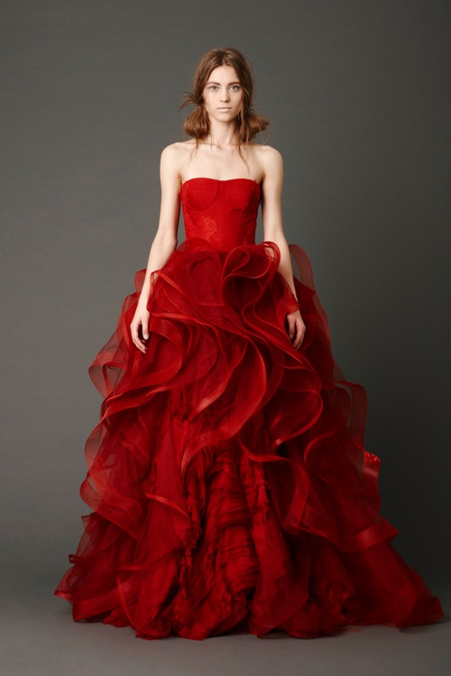red strapless wedding dress