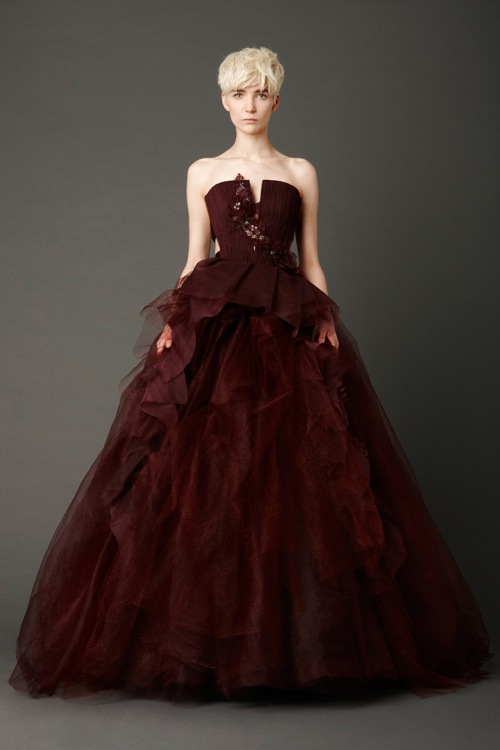 vera wang wedding dress in deep red