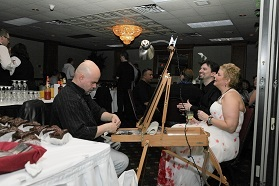 bride having caricature drawn