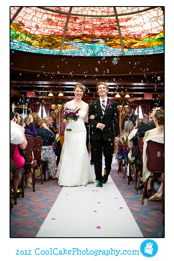 bride and groom on aisle