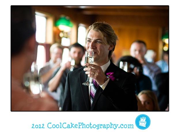 blond groom gives a toast to bride