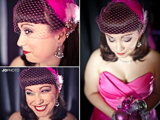 bride in hot pink dress and pink fascinator
