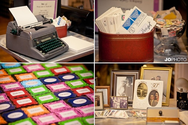 wedding details with antique typewriter and photo frame