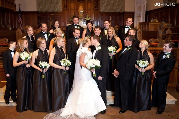 bridal party all in black