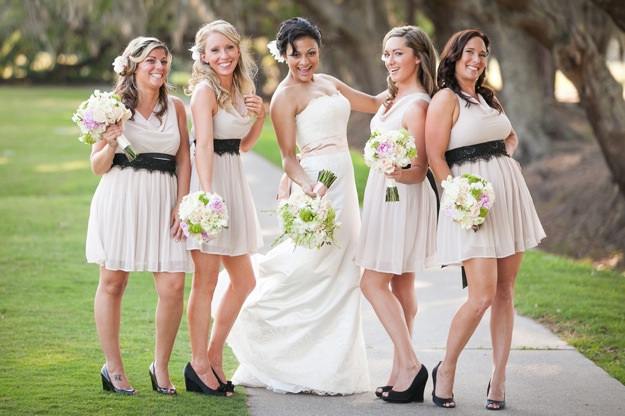 short bridesmaids dresses with brown sashes