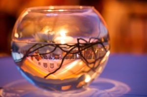 floating centerpiece in glass bowl