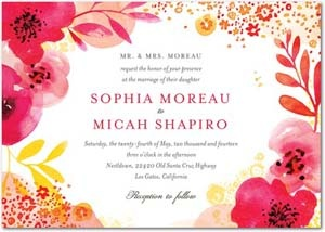 brightly colored wedding invitation