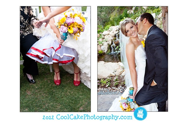 bride with red underskirt and red shoes