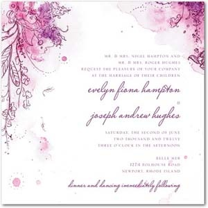 wedding invitation with purple flowers