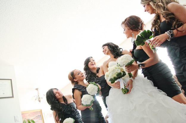 bridesmaids in black/grey dresses