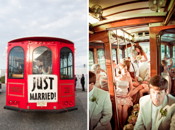 wedding transportation with red trolley