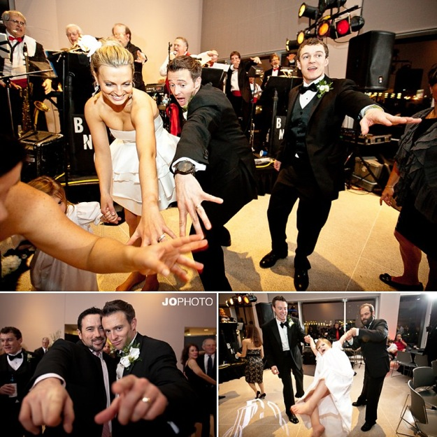 wedding party with energetic dancing