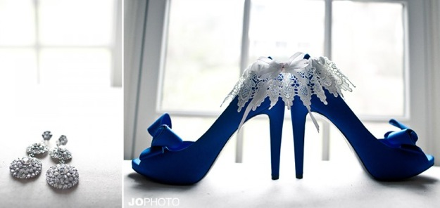 blue wedding shoes with white frills