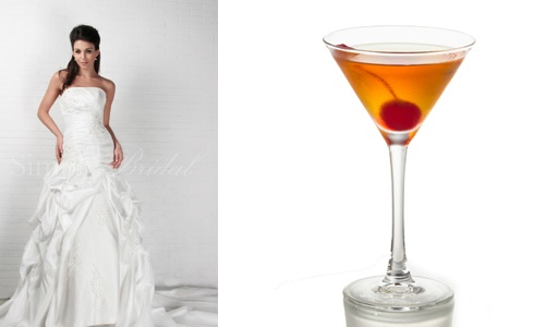 elegant wedding dress and manhattan cocktail