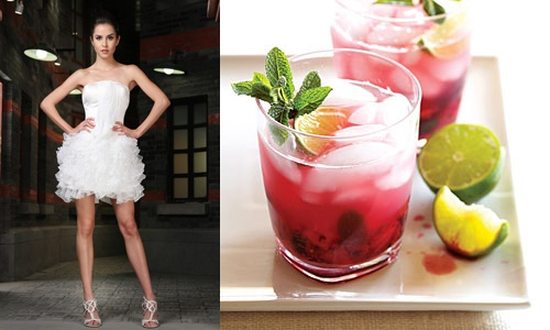 short wedding dress and colorful mojito