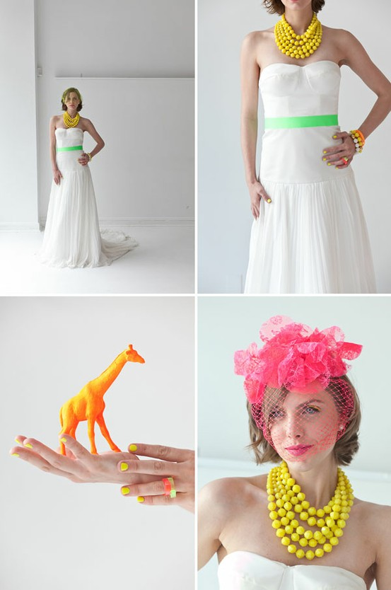 wedding details in neon colors