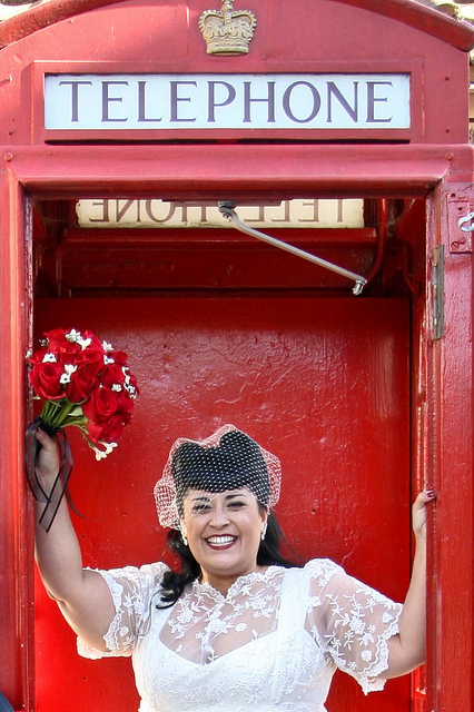 red british phone booth as wedding photo