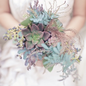 bridesmaid bouquet with green succulents