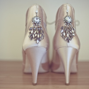 bridal boots with jewelry on heels