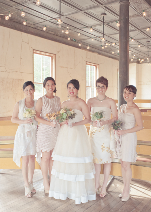 bridal party in all white